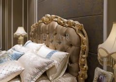 Luxury Hand Carved Frame Fabric Headboard Antique Bed