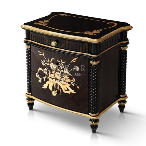 PROSPERITY High Gloss Blank and Golden Nightstand/Bedside Table