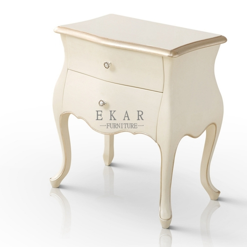 Exquisite Antique Simple Ivory White Nightstand