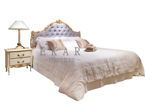 Romantic King Size Violet Carved Wooden Bed Frame/Bed Sets