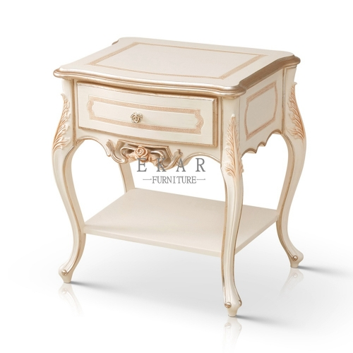 Antique Ivory White Elegant Nightstand