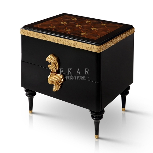 High Quality Small Gold and Black Wood Veneer Nightstand/