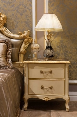 Ivory White Nightstand With Pattern