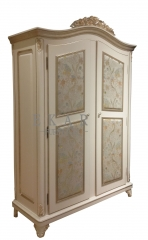 Bedroom Embroidered White Wooden Wardrobe Closet/Cabinet/Storage