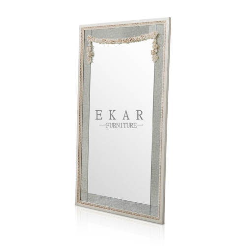 White Square Wooden Vanity Mirror/Wall Mirror/Full-length Mirror/Standing Mirror