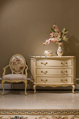 French Luxury Style Ivory White Wooden 4 Chest of Drawers