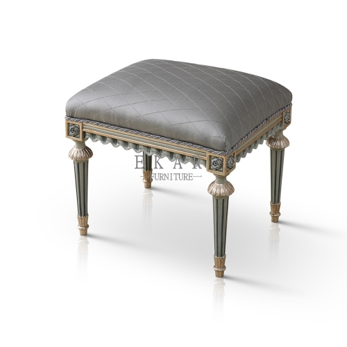 French Luxury Style Grey Fabric Vanity Stool