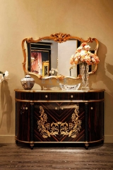2016 Luxury Classical Style Black and Golden Sideboard From China