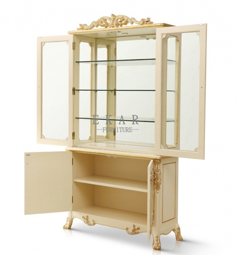 The Latest Luxury Style White and Golden Glass Cabinets with Carved Flowers