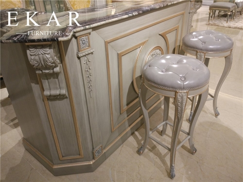 2017 The Latest French Luxury Style High Grey  Leather Bar Stool