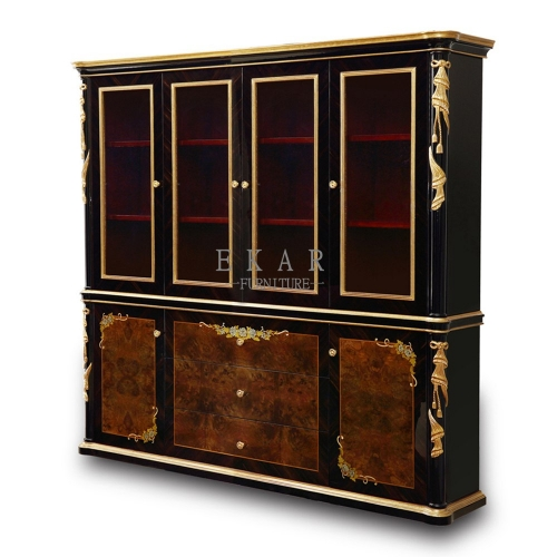 French Style Furniture Designer Antique Carved Luxury Wooden Black Gloss Glass Door Bookcase