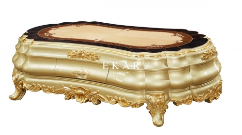 Gold Luxury Design Drawer Oval Coffee Table