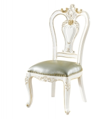Leather White Antique Dining Chair