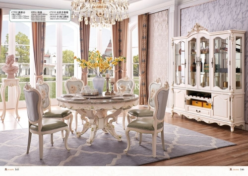 Round Rotating Centre Set 6 Chair Marble Dining Table