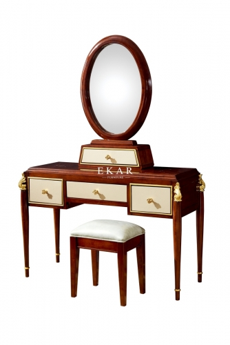 Luxury Classic Wooden Dressing Table With Mirror