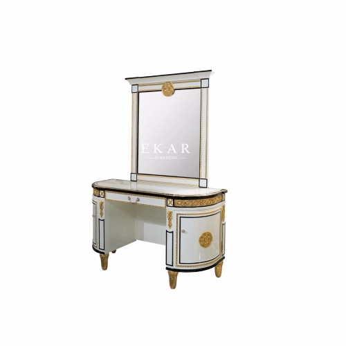 High Class Bedroom White Dressing Table Curved With Mirror
