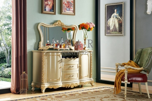 Wooden Gold Luxury Antique Sideboard Cabinet With Drawer