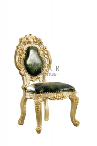 Upholstered Luxury Carved Green Leather Dining Chair