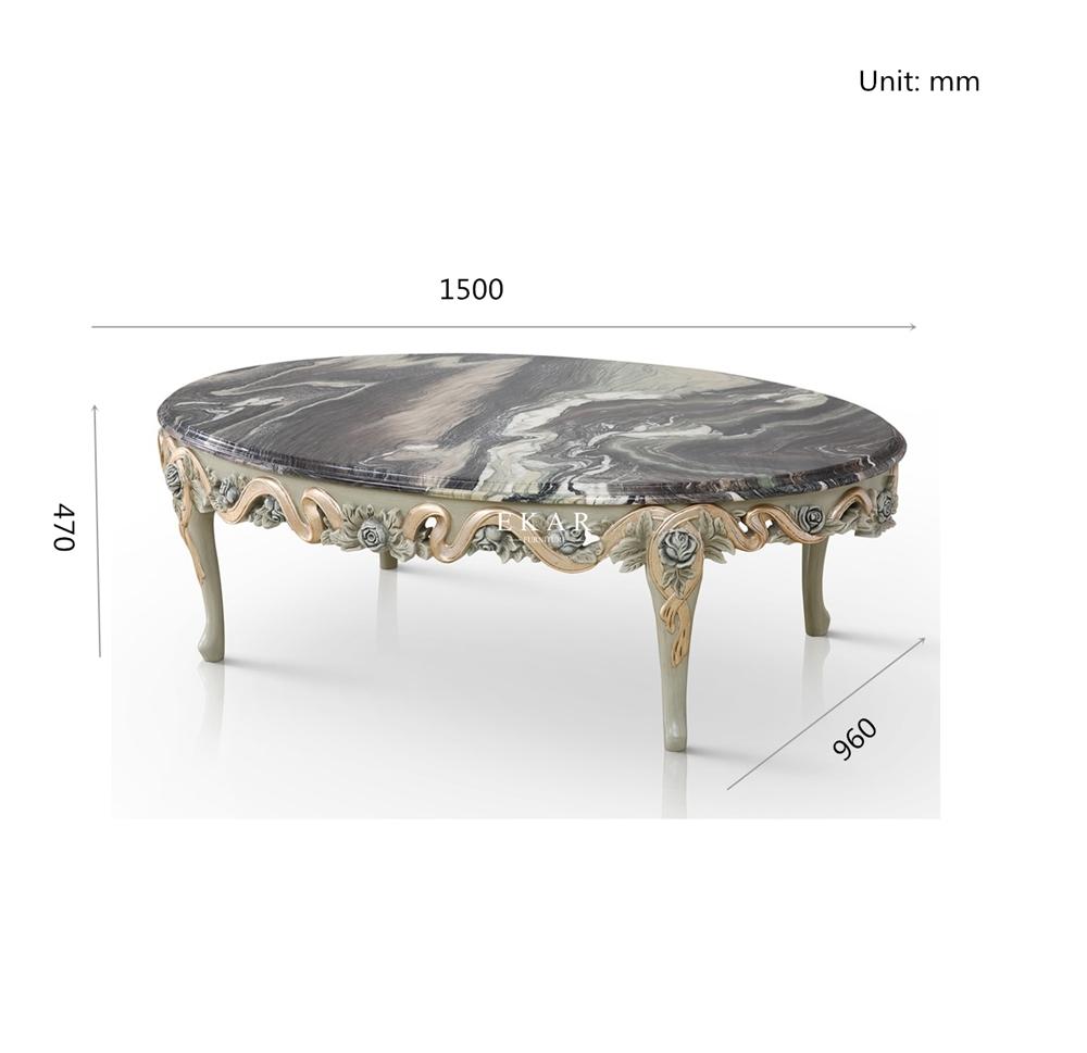 - Retro Fashion Oval Granite Coffee Table - Ekar Furniture