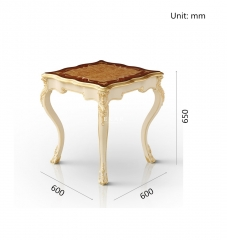 Antique Square White Living Room End Table