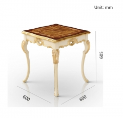 Ivory White Hand Carved End Table