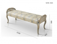 Royal Grey Printing Fabric Bed Stool