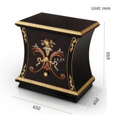 NIRVANA High Gloss Black and Golden Nightstand/Bedside Table/Bedroom Furniture