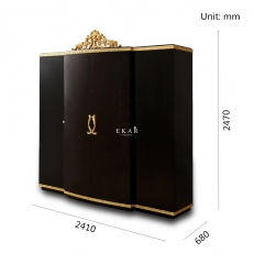 Black & Gold Large Bedroom Wardrobes for Sale