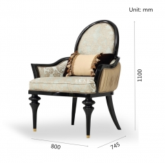 Nice Small Fabric Black Wooden Frame Living Room Chairs