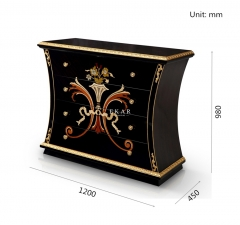 2017 Luxury Style High Class Wooden 4 Chests of Drawers with Flower Pattern