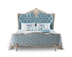 Soild Wood Carved Luxury Upholstered King Size Bed