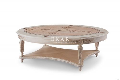 Ash Wood Antique Oval Shaped Living Room Coffee Table