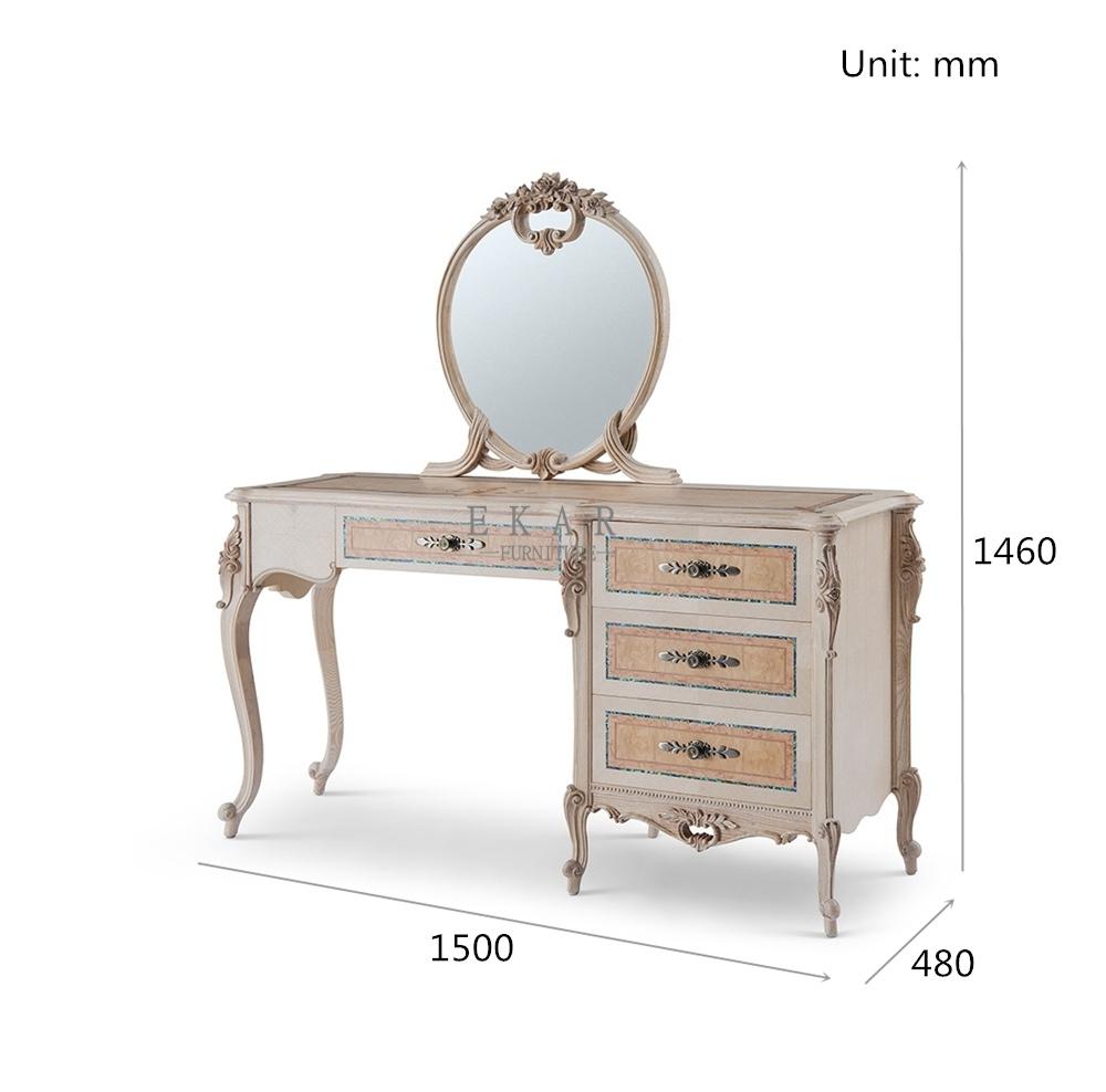Ash Wood 4 Drawer Carving Vintage Dressing Table Mirror Ekar Furniture