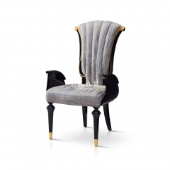 Leather And Fabric High Back Upholstered Dining Chair