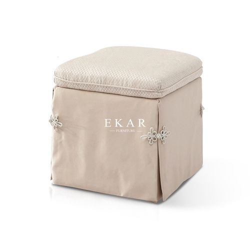 2019 The Latest High Class Beige-colored Fabric Dressing Stool