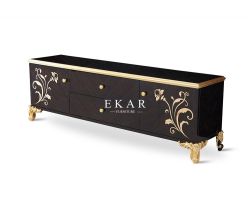 French Luxury Style Long  Wooden  Black and Gold Floor Cabinet with Flower Pattern