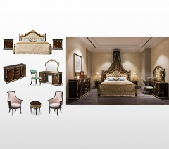 Luxury Royal Gold Foil Carved Bedroom Furniture Set