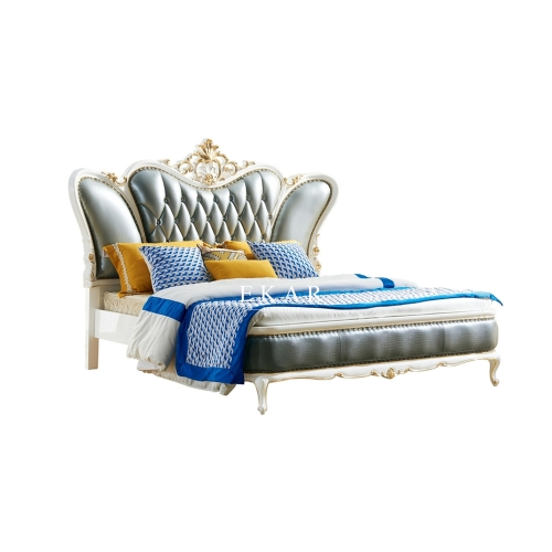French Design Upholstered Leather King Size Bed