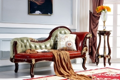 Classic Carved Leather Chaise Lounge
