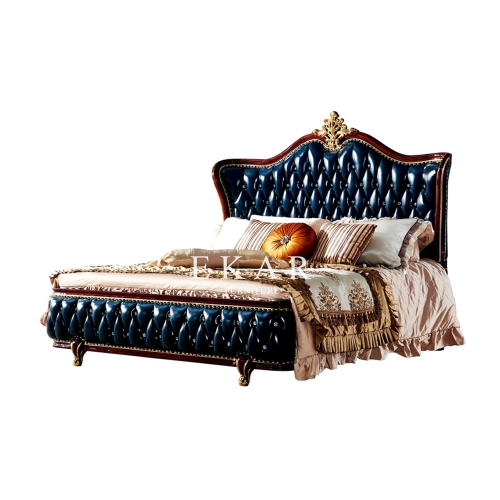 European Design Leather Headboard King Size Bed