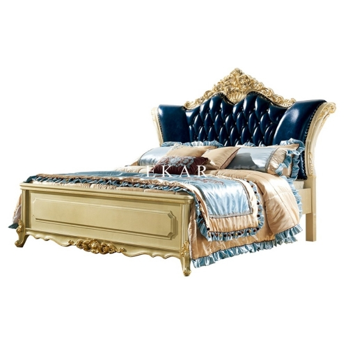 Luxury Gold Carved Upholstery Headboard Bed