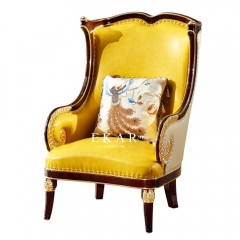Antique Leather Solid Wood Frame Armchair