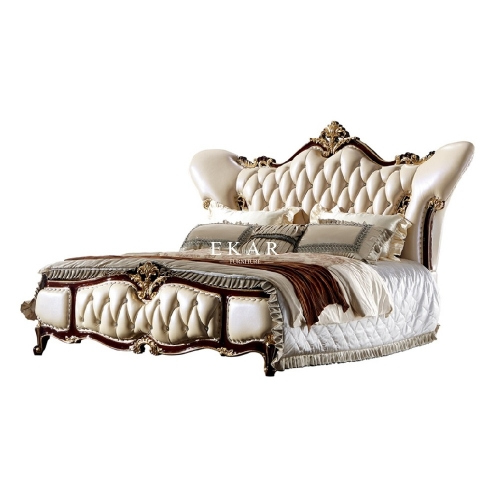 Antique Royal Style Upholstered Leather Bed