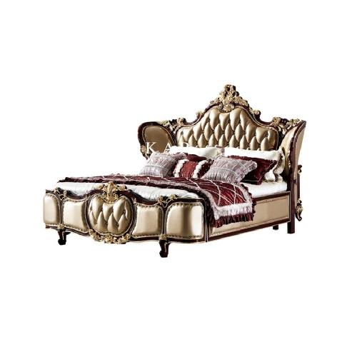 Royal Carved Leather Upholstery King Size Bed