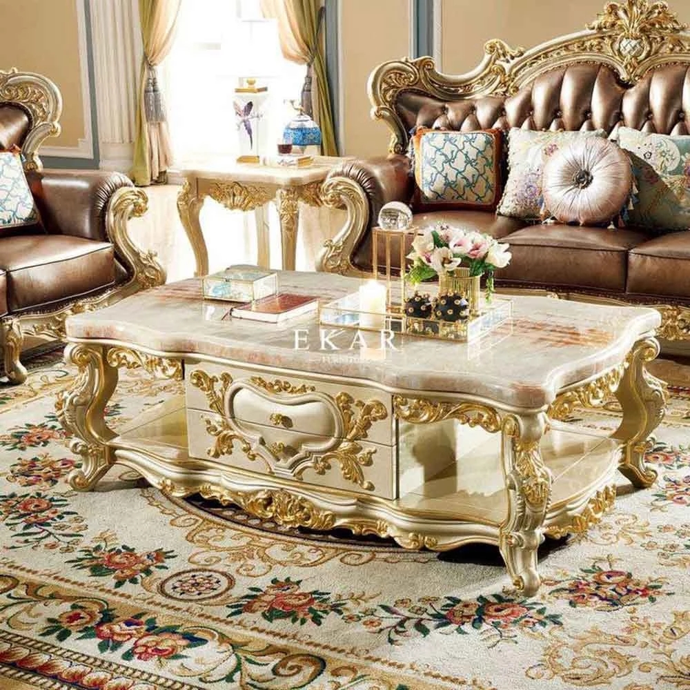 - Classic Furniture Luxury Square Carved Wooden Coffee Table