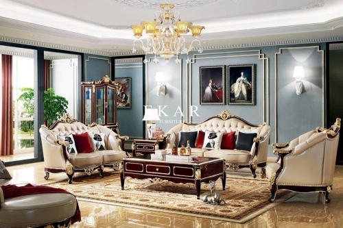 Royal Style Cream Color 6 Seater With Luxury Carving Leather Sofa Set