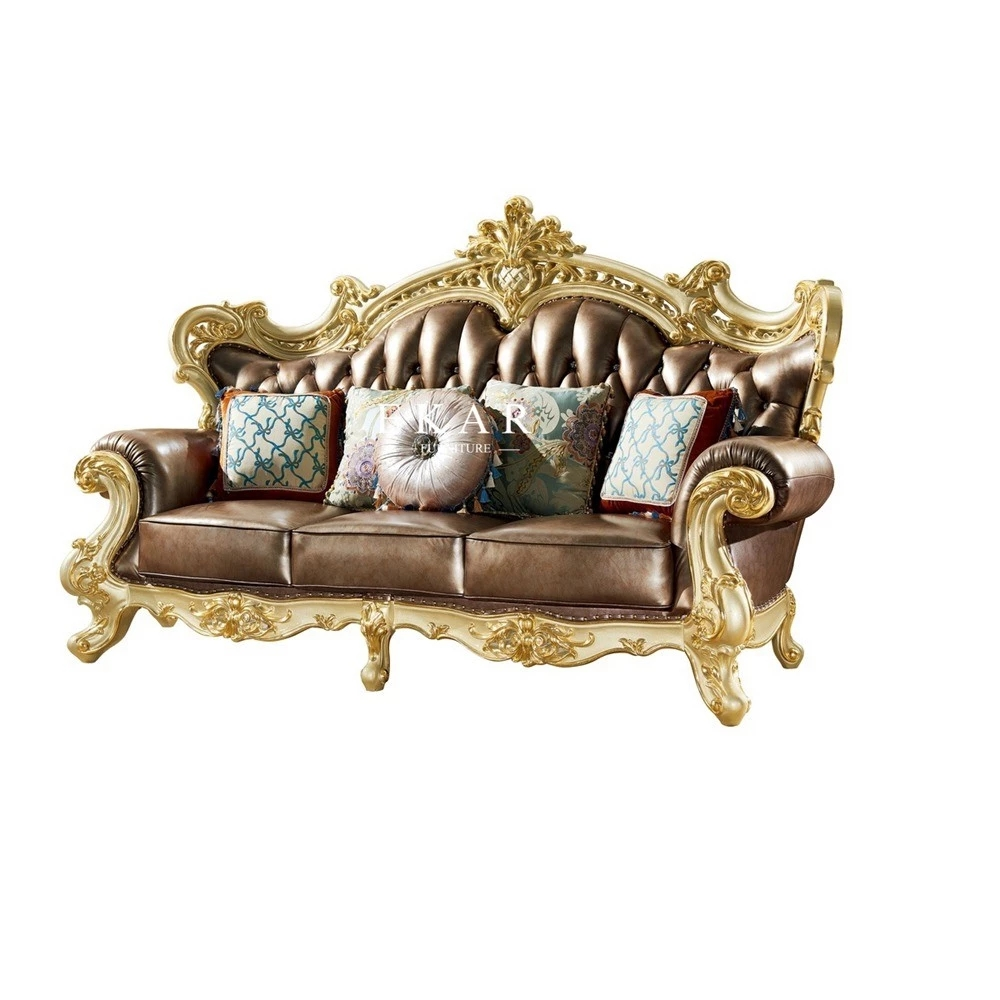 Luxury Wooden Classic Design Frame Leather Living Room ...