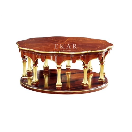 Round Shaped Luxury Veneer Wooden Coffee Table