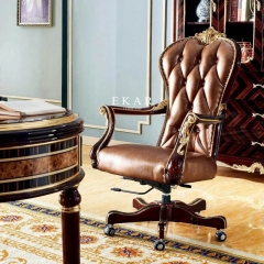 Classical Luxury Antique Leather Wooden Home Office Chair With Wheels