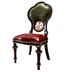 Antique Leather Solid Wood Luxury Classic Dining Chair
